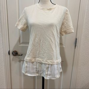 Anthropologie NWT Layered Tee Small Top Creme New